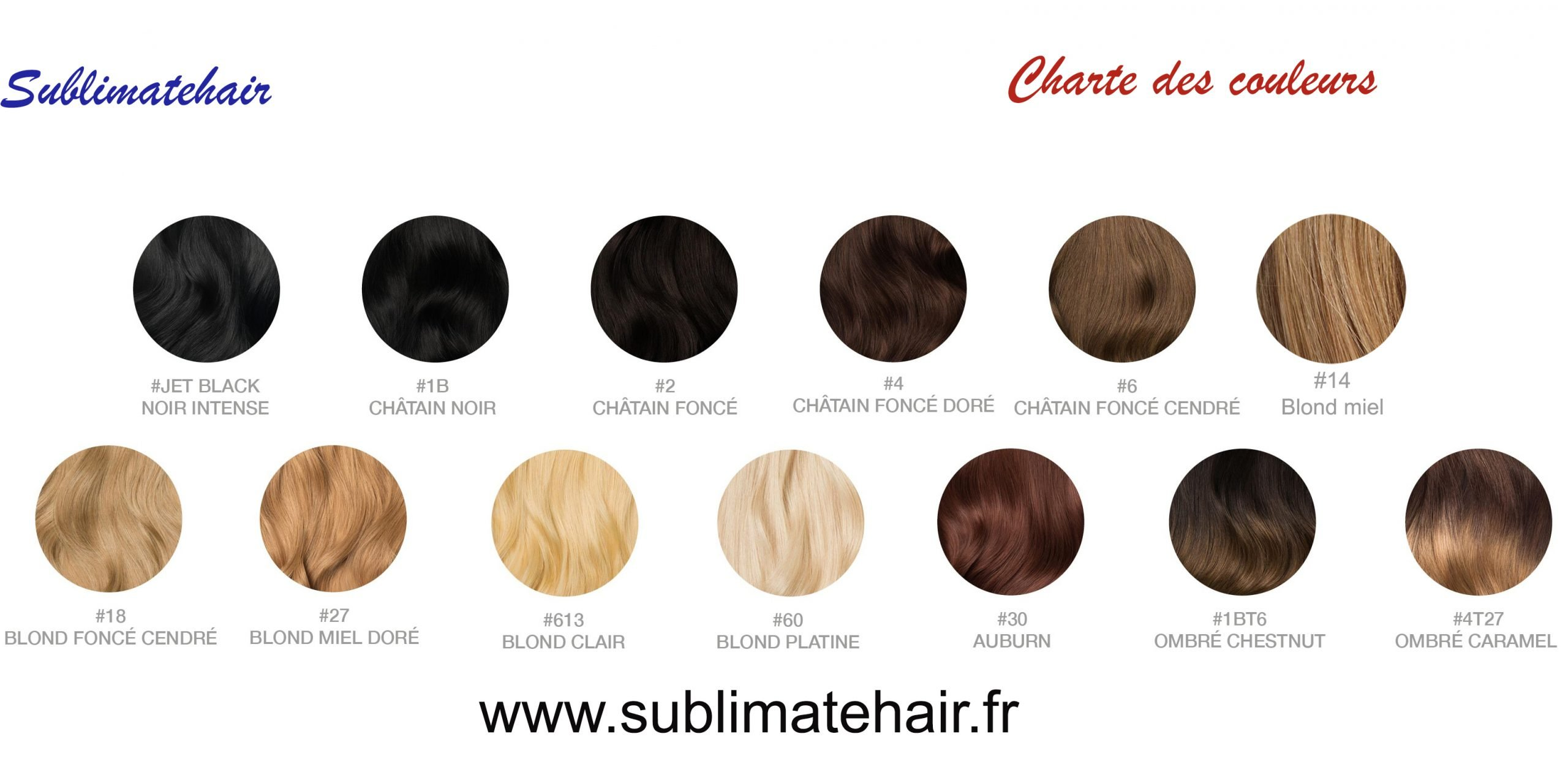Nuancier Sublimatehair extensions cheveux